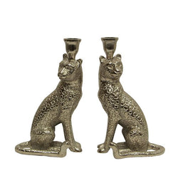 Cheetah Candle Holder Pair
