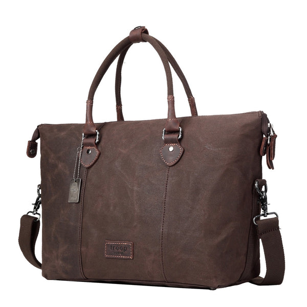 Edison Waxed Canvas Holdall - Dark Brown