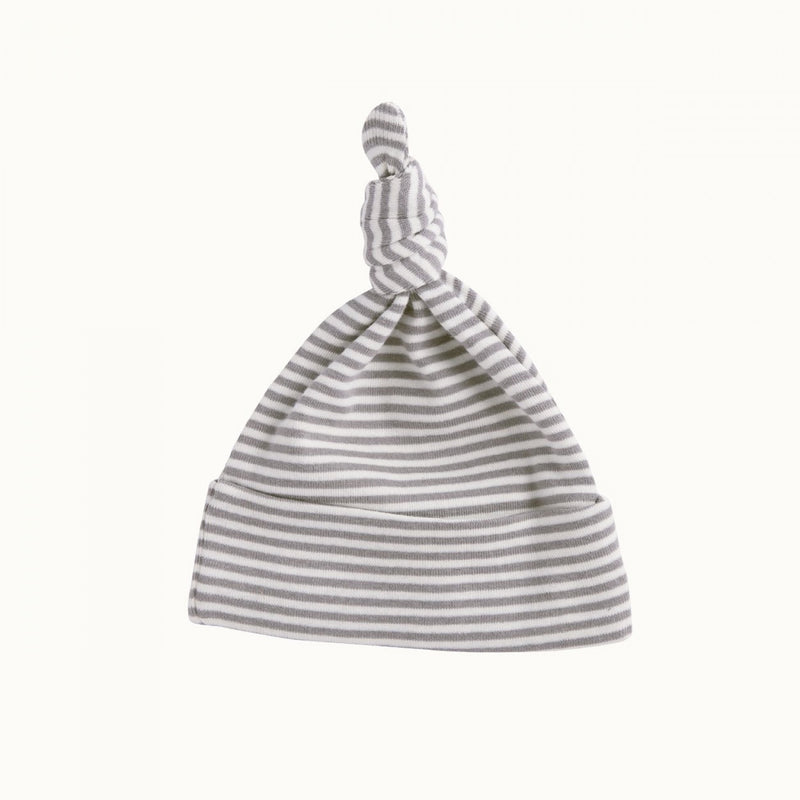 Cotton Knotted Beanie Grey Marl Stripe