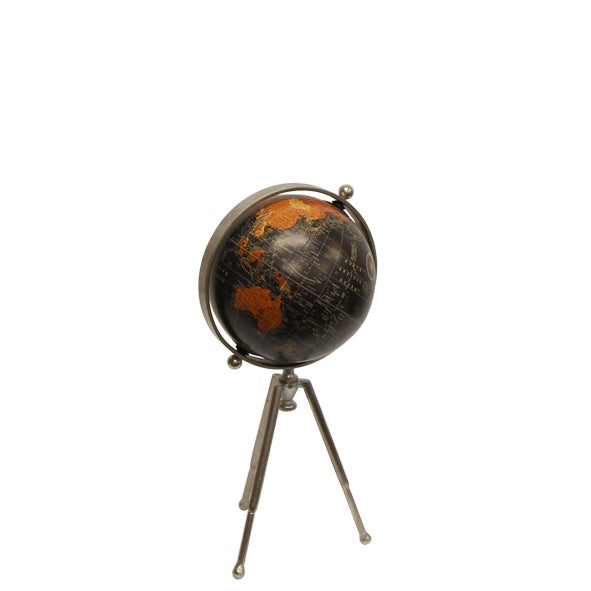 Small Black Globe on Stem Tripod Stand