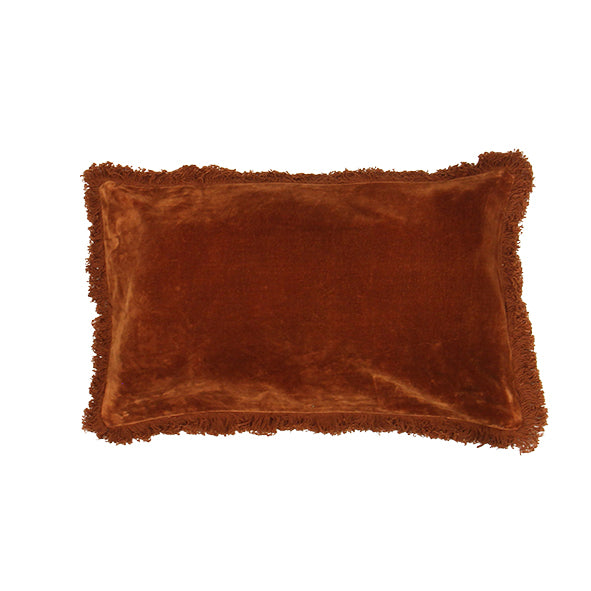 Boudoir Burnt Orange Fringed Cushion
