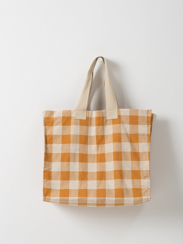 Gingham Beach Bag Pumpkin/Dijon
