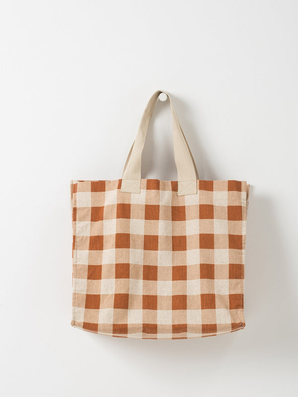 Gingham Beach Bag Chestnut