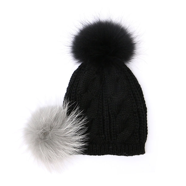 Fluffy Pompom Hat Black