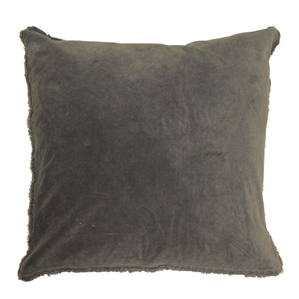 Ice Blue Frayed Velvet Cushion 50cm