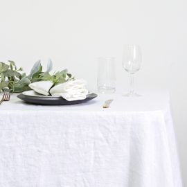 100% Linen Table Cloth White 150cmx260cm