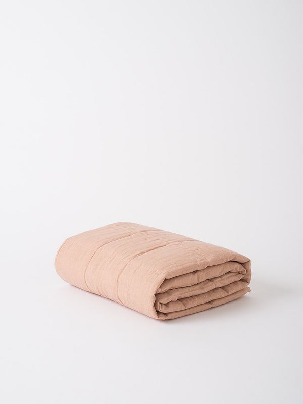 Linen Quilted Blanket Iced Tea L