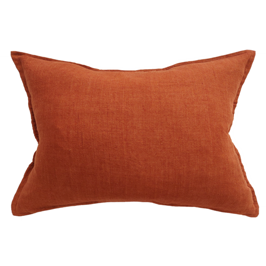 Arcadia Cushion with Feather Inner Red Leather