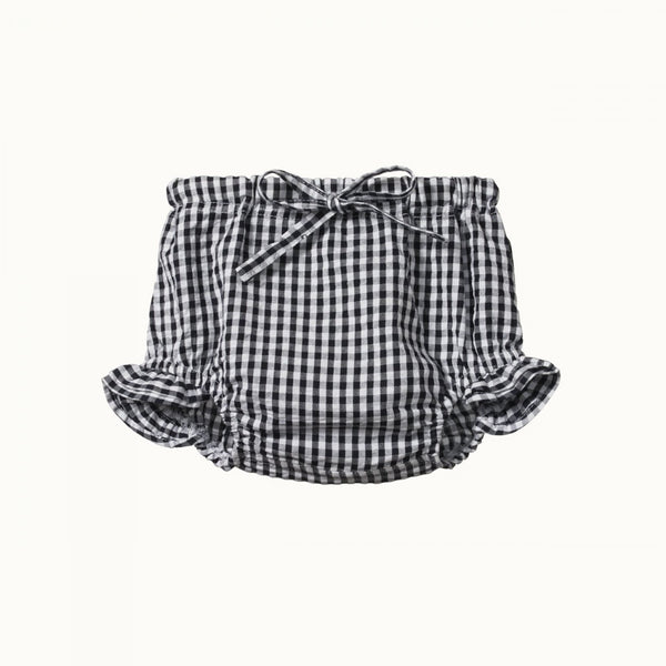 Gingham Petal Bloomers Navy Check 6-12M