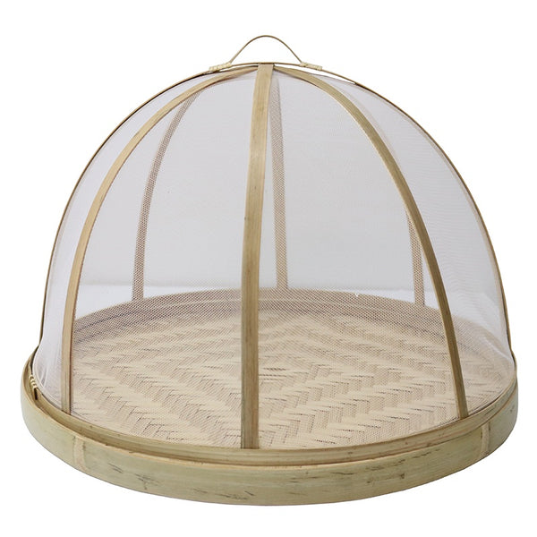 Bamboo Food Cover with Base Natural