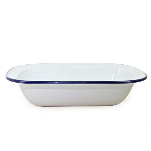 Enamel Pie Dish 24x18cm White/Blue