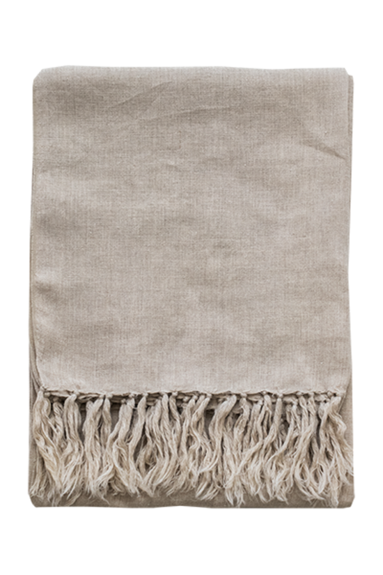 Indira Linen Throw Natural