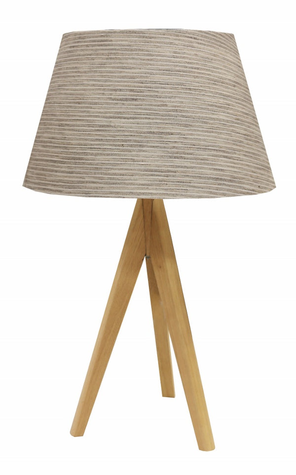Natural Wood Tripod Table Lamp & Shade