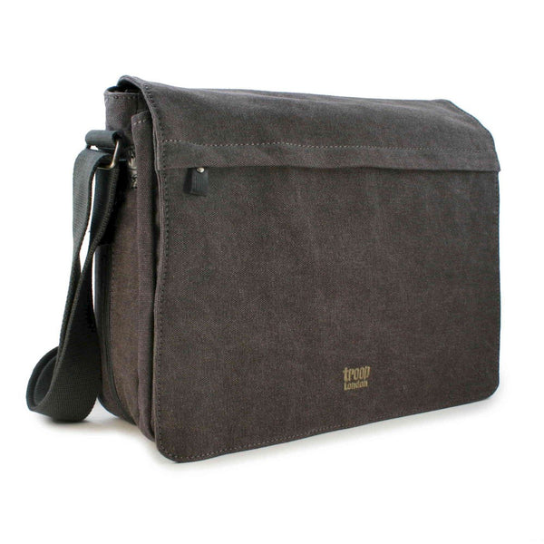 Classic Flap Front Messenger Bag - Charcoal