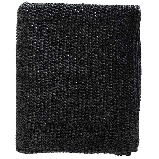 Milford Moss Stitch Throw - Black/Charcoal