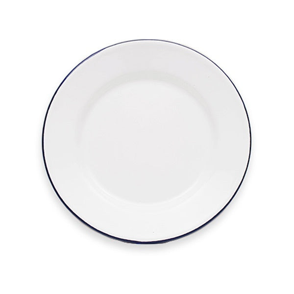 Enamel Lunch Plate 20cm White/Black