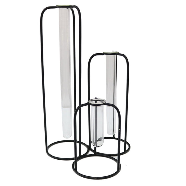 Delphine 3 Test Tube Vase Black