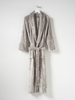 Spot Women's Velour Dressing Gown Concrete/White L