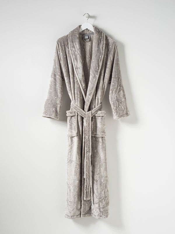 Spot Women's Velour Dressing Gown Concrete/White M