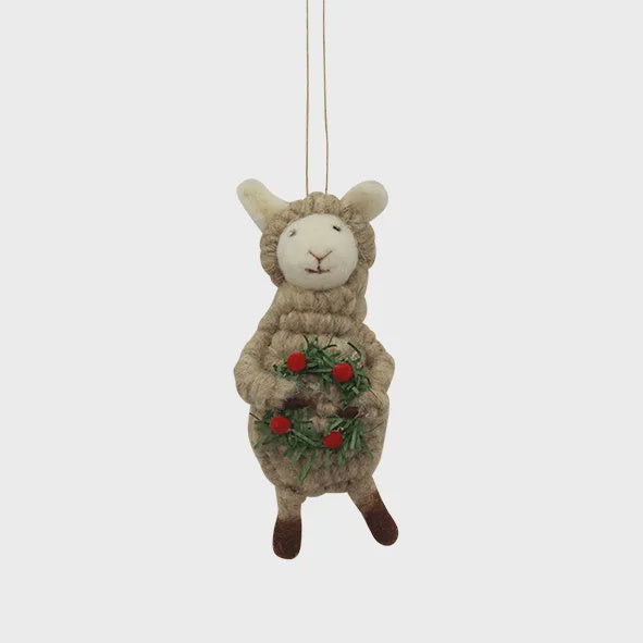 Sheep with Wreath Hanging Decoration