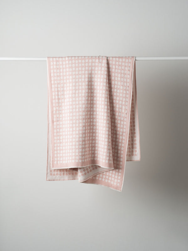 Polka Dot Cotton Knit Cot Blanket Blush