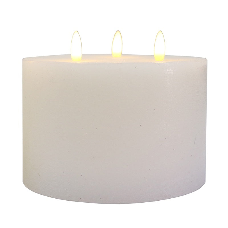LED Battery 3 Wick Candle White 15x10cm
