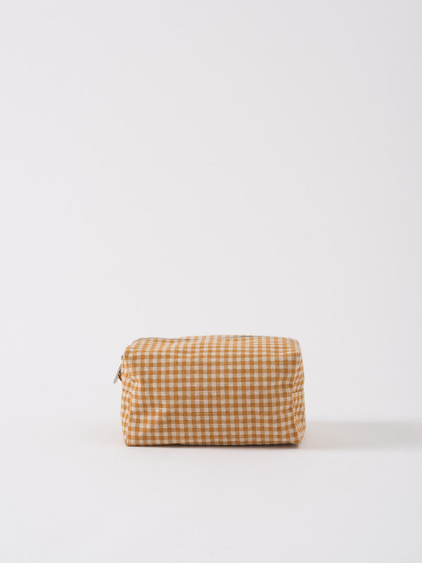 Gingham Wash Bag Pumpkin/Dijon L