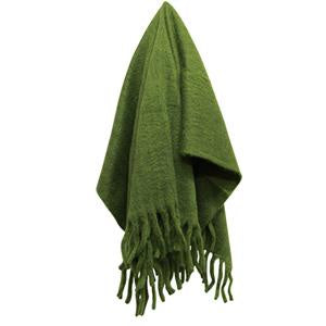 Solid Fringed Sage Green Throw