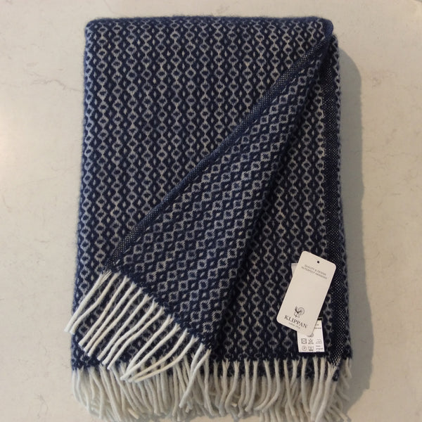 Throw 100% Lambs Wool - Rumba Navy