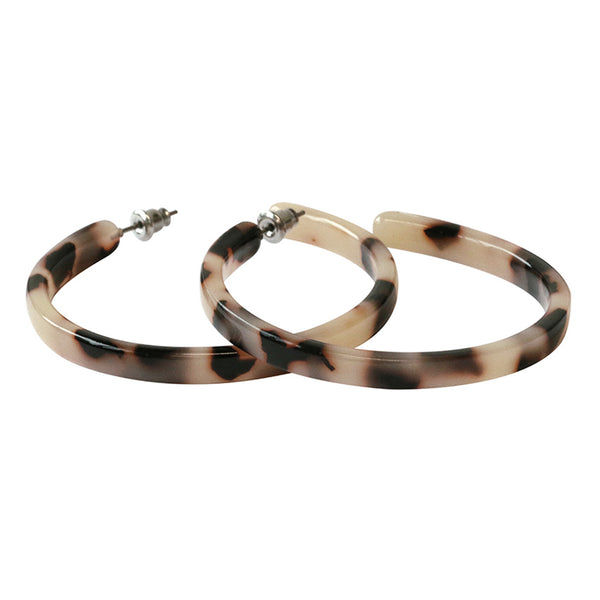 Beige Tortoise Shell Style Hoop Earrings