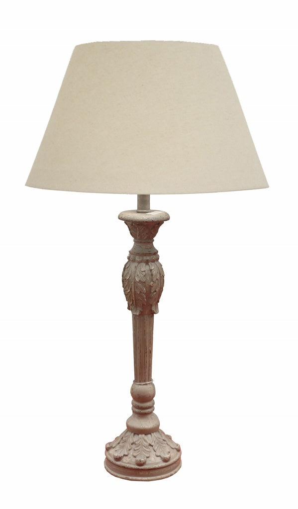 French Grey Table Lamp with Leaf Detail - Shade incl