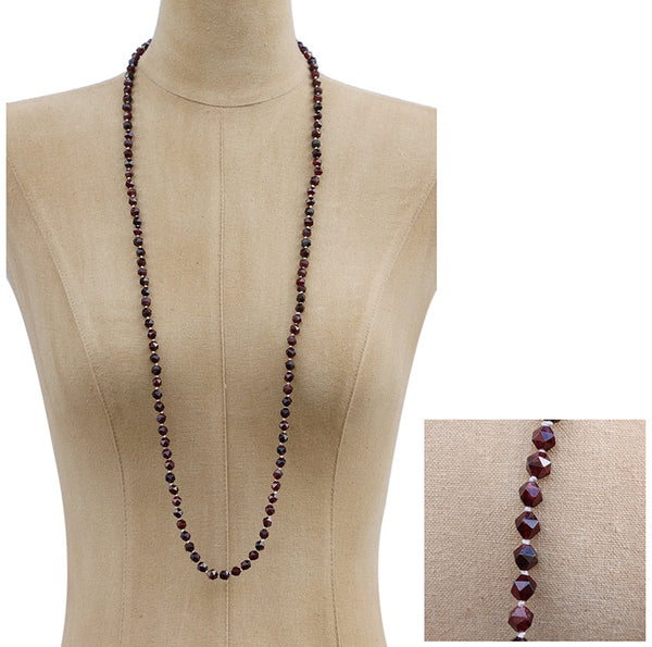 Garnet Colour Faceted Crystal Necklace