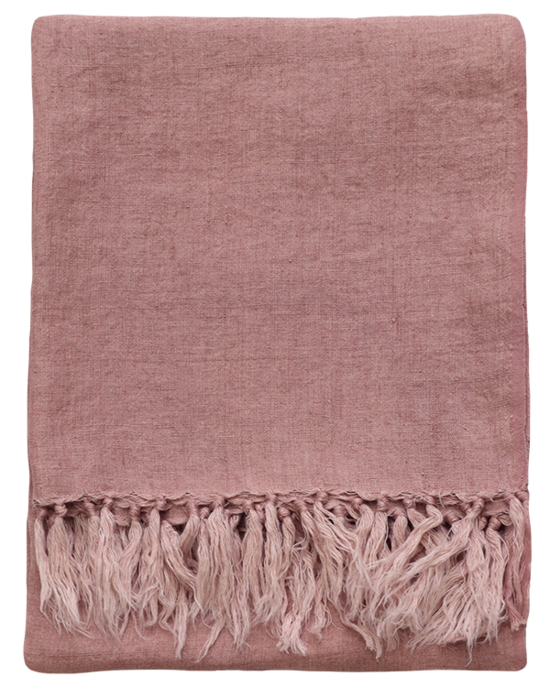 Indira Linen Throw  - Rose