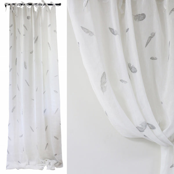 White Linen Voile Curtain with Feathers 1.4m x 3m