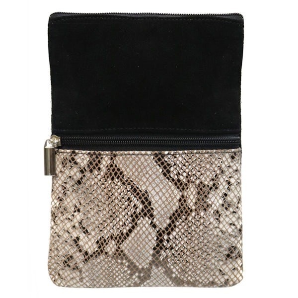 Cross Body Bag Black/White/Brown Snake