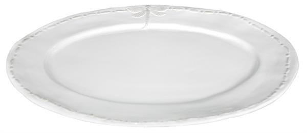 Large White Dragonfly Oval Ceramic Platter