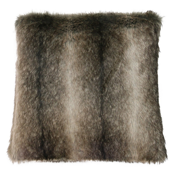Faux Fur Black Stripe Cushion