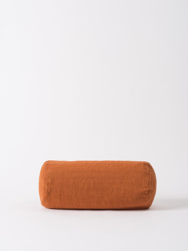 Washed Woven Bolster Cushion Cover Chestnut 46x20cm