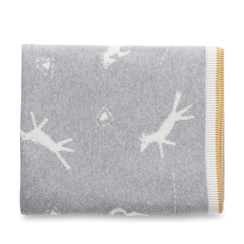 Bronco Cotton Knit Cot Blanket Grey Marl/Chalk