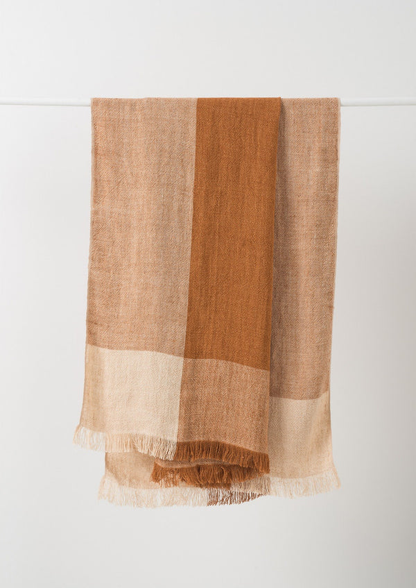 Chester Linen Throw Chestnut/Macaroon