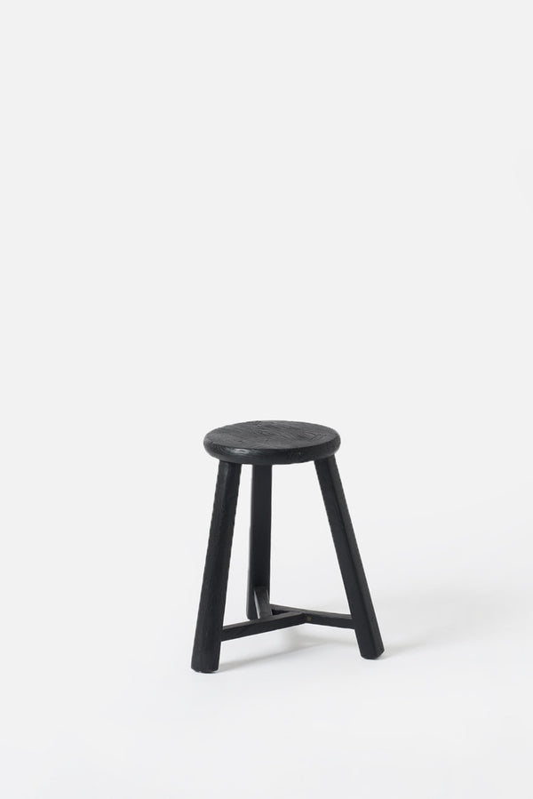 Antique Round Stool Matte Black