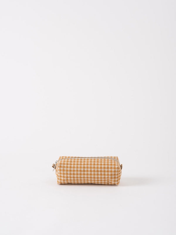Gingham Wash Bag Pumpkin/Dijon S