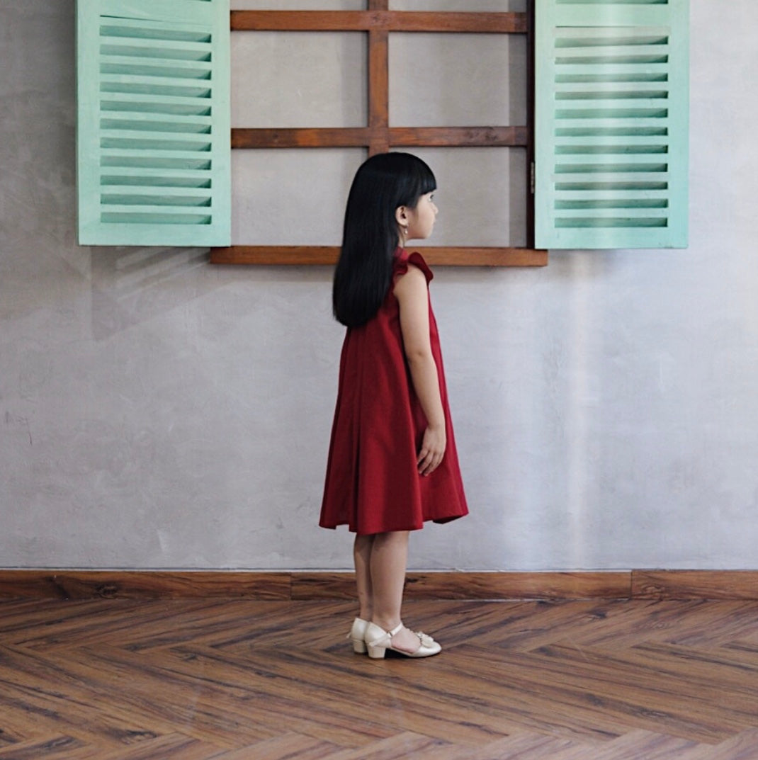 Peony dress in Ruby