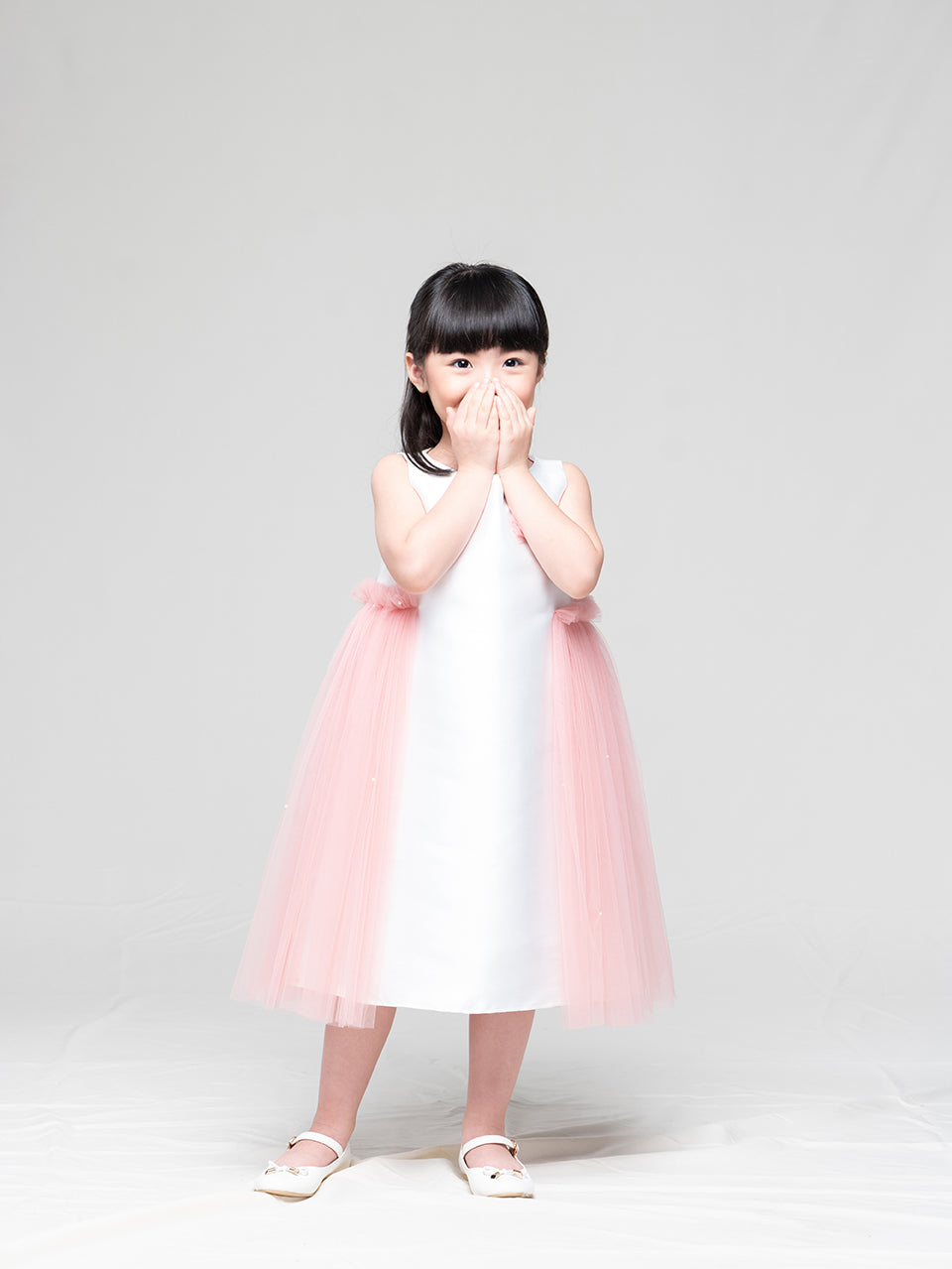 Eloise Dress (white/peach)