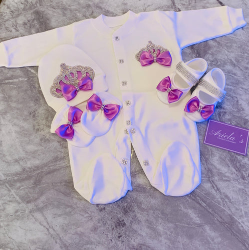 Princess Baby Grow Set in Lilac without shoes