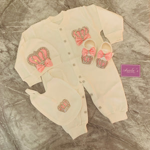 Princess baby grow set in pink with out shoes