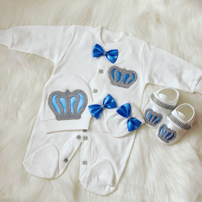 Prince baby grow set in baby blue without shoes