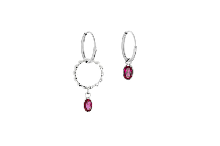 Jasmien Witvrouwen - Hoop Earrings Asymmetric – Ruby 2.0