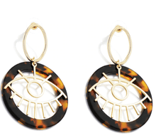 Load image into Gallery viewer, Leopard and Eye Round Drop Earrings