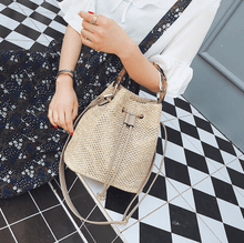 Load image into Gallery viewer, Drawstring Women's Straw Bucket Bag - Hooking Hands